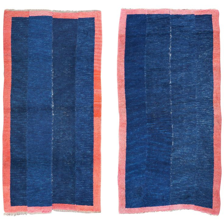 Pair of Antique Blue and Red Tibetan Nomadic Minimalist Rugs | From a unique collection of antique and modern chinese and east asian rugs at https://www.1stdibs.com/furniture/rugs-carpets/chinese-rugs/