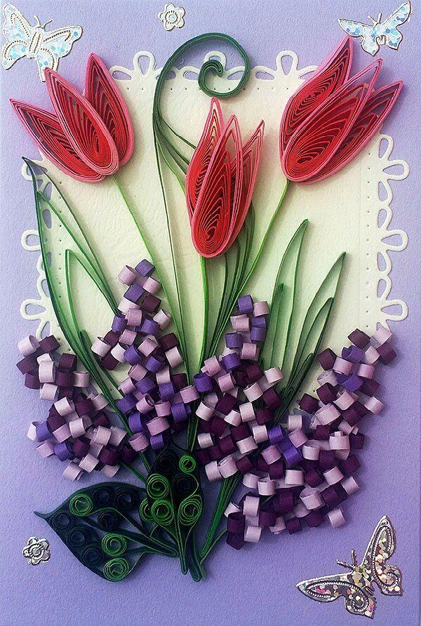 Квиллинг открытки к 8 марта с тюльпанами, самой классной женщине
