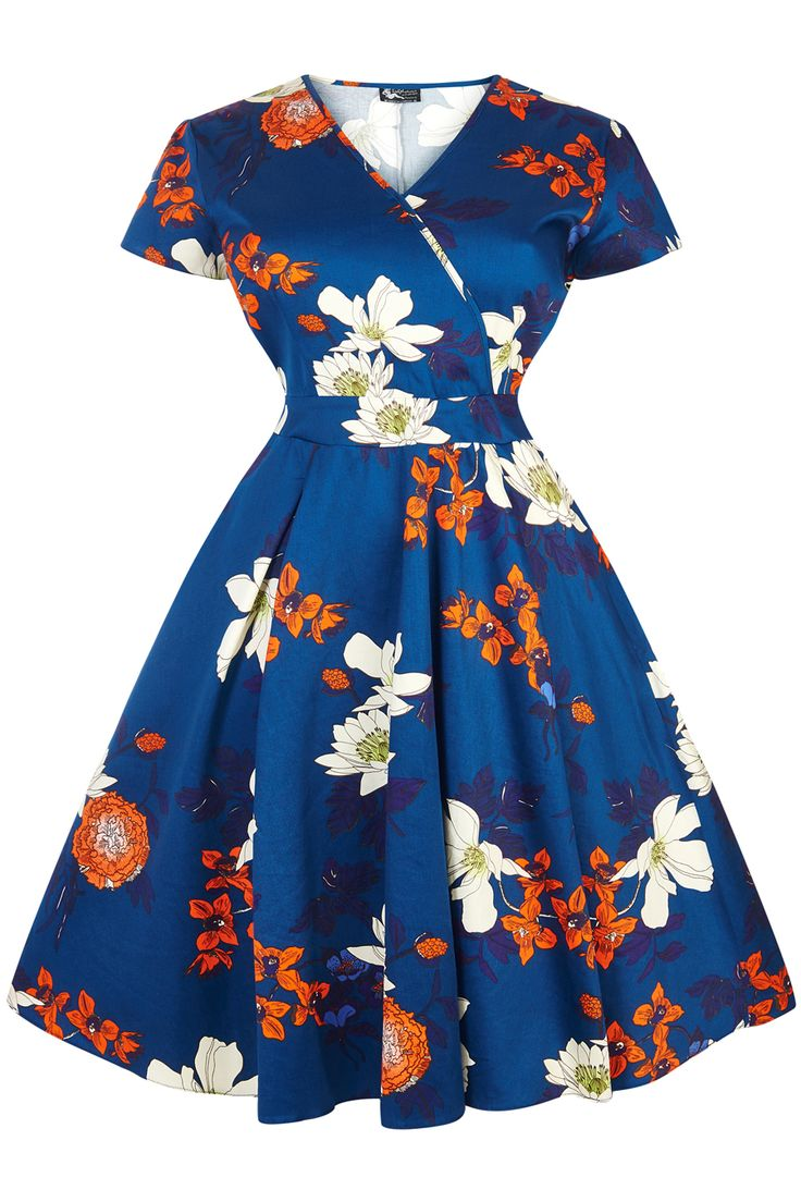 Japanese Blue Floral Estella Dress : Lady Voluptuous