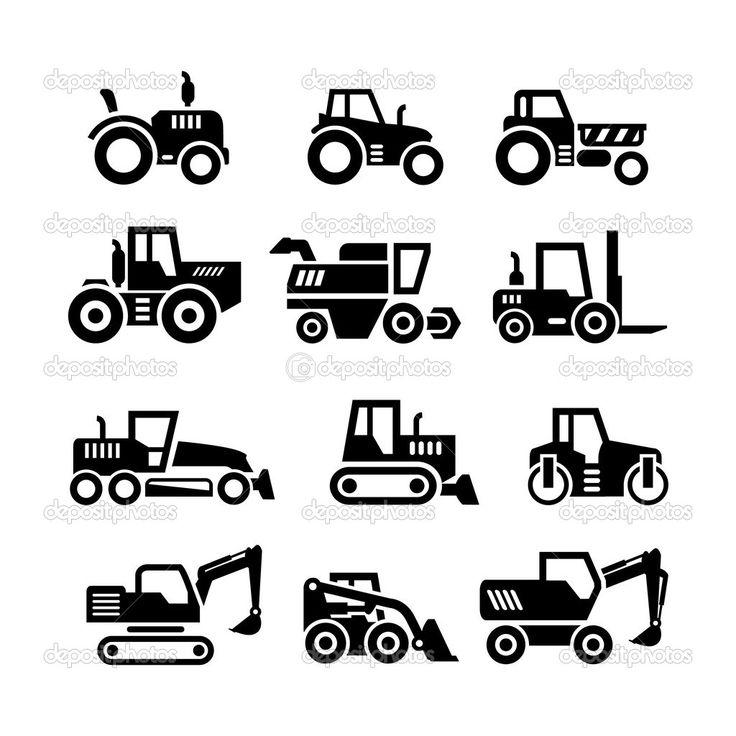 Скачать - Набор иконок тракторов, машин фермы и зданий, строительство транспортных средств — стоковая иллюстрация #47413857