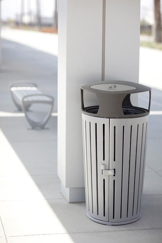 Dispatch Litter & Recycling Receptacle and Trio Bench