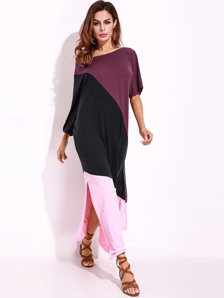 Casual Patchwork Off-shoulder Split Loose Half Sleeve Women Maxi Dress