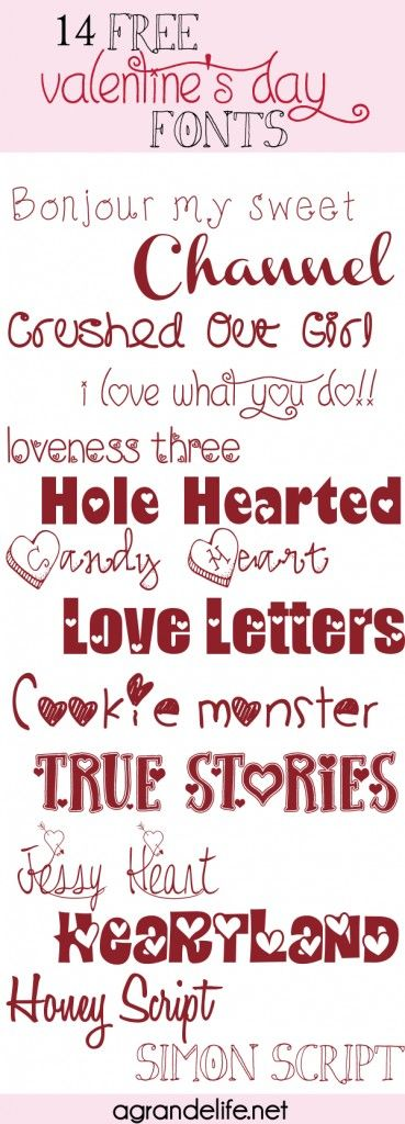 14 Vree Valentines Day Fonts ~~ {14 free fonts w/ links}
