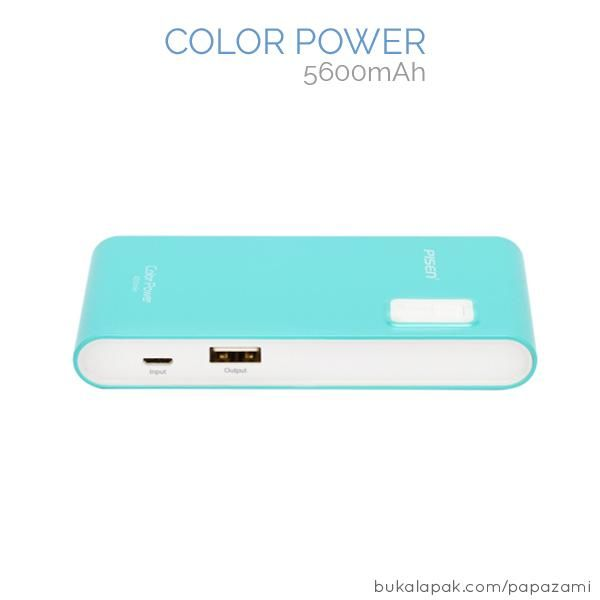 Pisen Color Power 5600mAh  Product Name: Color Power Brand: Pisen Type: Power Bank Weight: 141.1g Capacity: 5600mAh Battery Type: Li-ion Dimension: 110.4 * 58 * 20.4mm Output: DC5V==1A (Max) Input: USB 5V==1A    Pisen Color Power 5600mAh * Charge other devices and being charged at the same time.  * High conversion rate by utilizing high quality Lithium-Ion battery.  * Delivers more power compared to power banks of similar capacity   Package Content: * 1 x 5600mAh PISEN Color Power * 1 x…