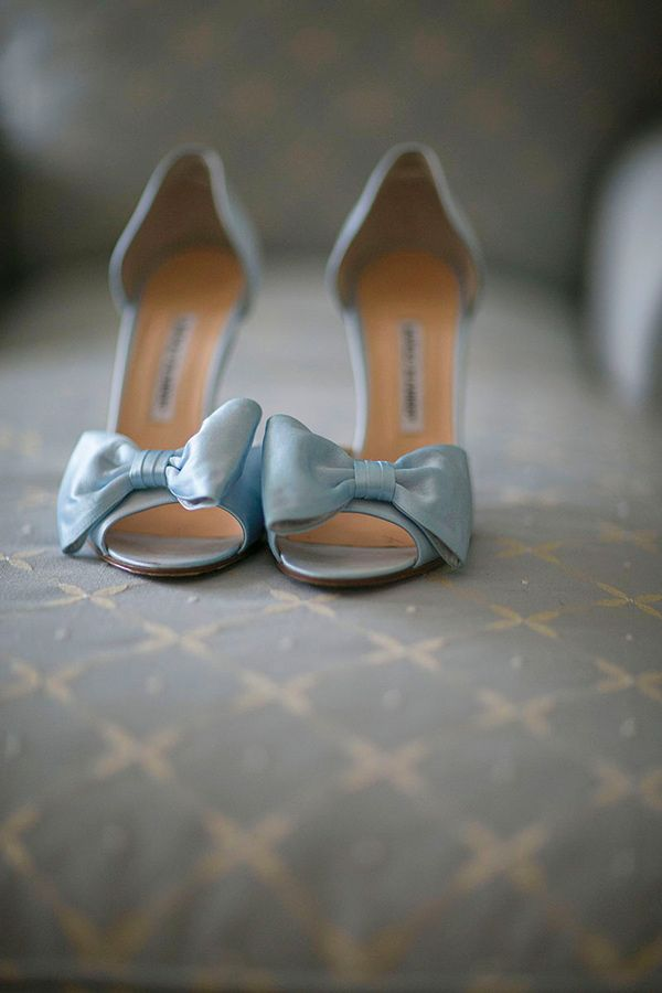 Pale blue bow heels. Manolo Blahnik.  Keywords: #lightblueweddings #jevelweddingplanning Follow Us: www.jevelweddingplanning.com  www.facebook.com/jevelweddingplanning/