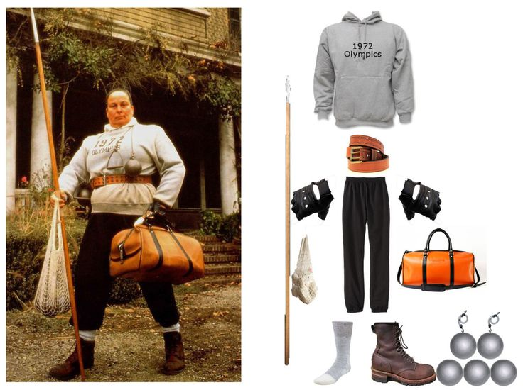 Steal her look: Agatha Trunchbull from Matilda Custom 1972 Olympics Hoodie ($62) Orion Leather Light Brown Show Harness Belt ($59) Leather Gloves ($20) H&M Jogging Pants ($10) Grey Socks ($23) Fry Brown Logger Boots ($210) Manhandled Tan Leather...