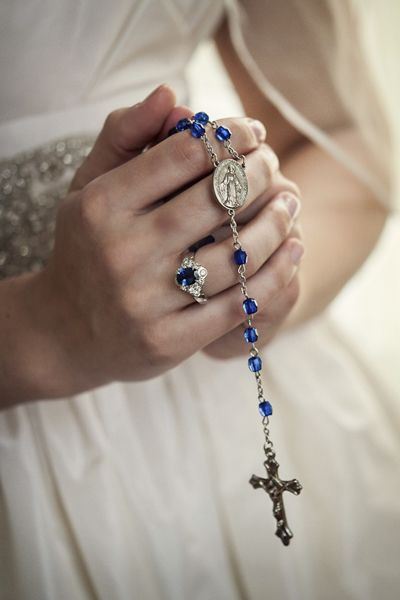 """Tip of the Day: Searching for your """"something blue?"""" Incorporate an element of your faith, like rosary beads or saint medallions in that hue. If your religion's marital rituals include a form of hand-tying or placement of crowns on your heads, blue stones or detailing works perfectly for those options as well."""