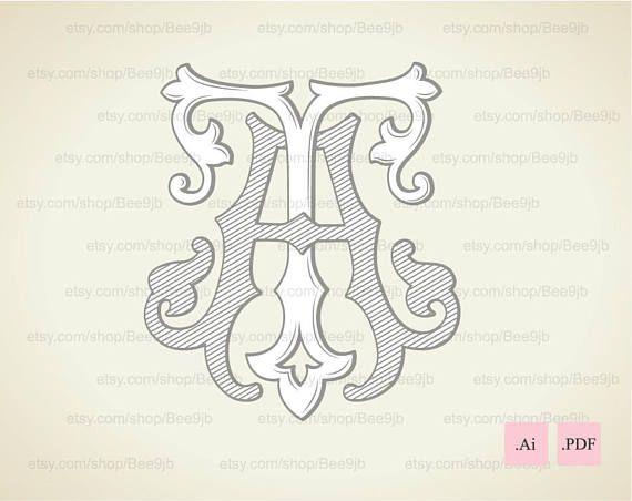 Wedding logo TA AT Vintage Monogram Wedding Clip Art