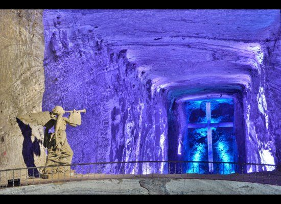 After the last station of the cross, you reach a viewing area where you can look down into the main salt cathedral
