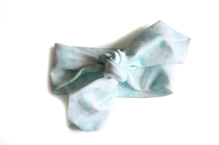 Organic Cotton Headband || Feathers Mint || Organic Cotton Headband by raenne on Etsy