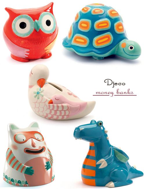 Ceramic Money Bank - Owl and other cute characters