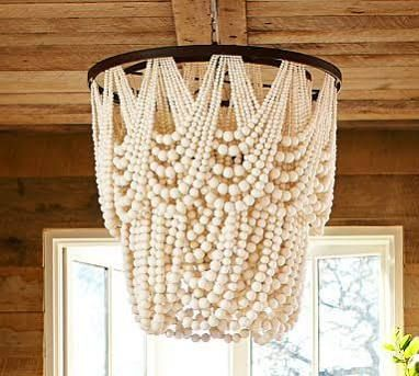 white wood bead chandelier - Google Search