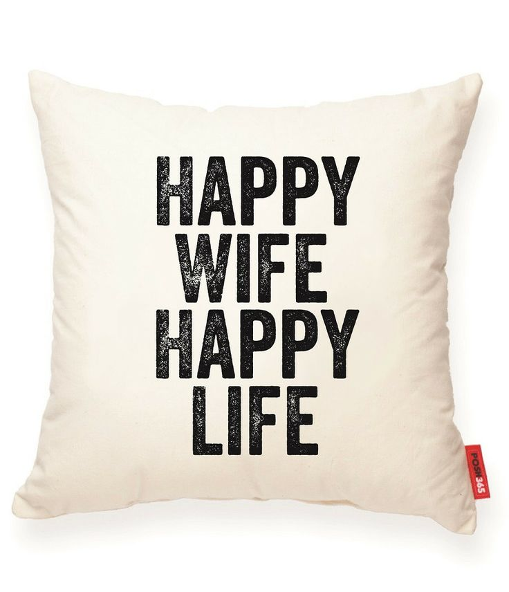 Happy Wife Happy Life Muslin Throw Pillow
