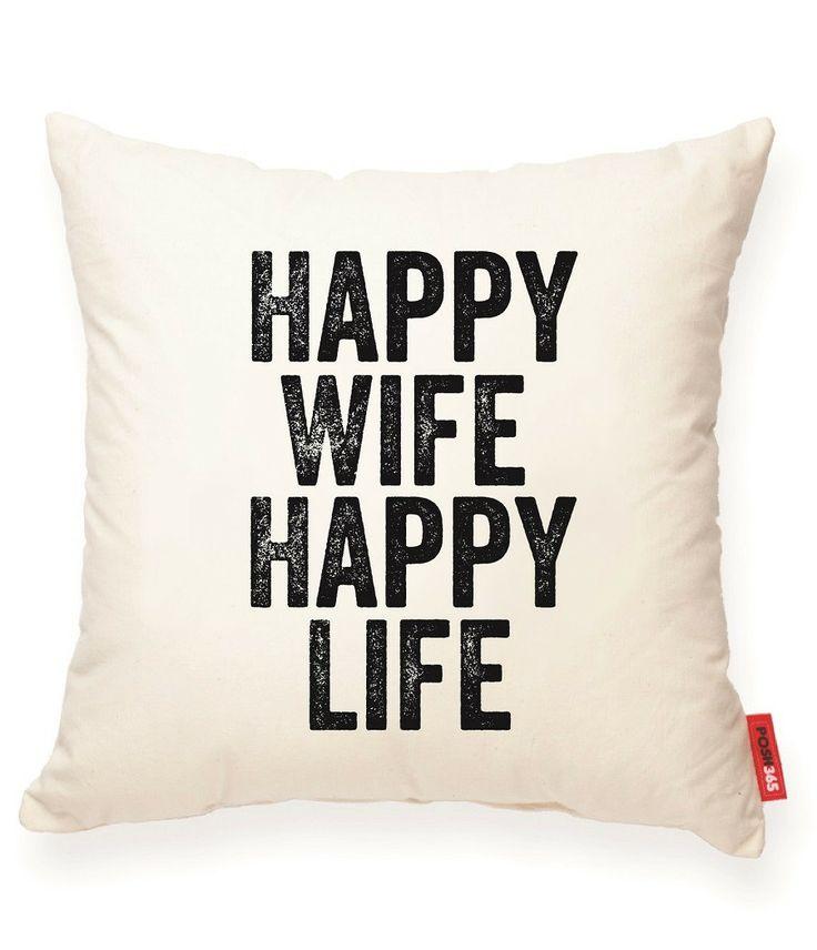 Happy Wife Happy Life Muslin Throw Pillow