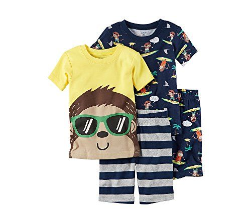 Carter's Boys' 5-12 Surf Monkey 4-Piece Shirt And Bottom Set  Cotton  4-piece set includes: 2 shirts and 2 pairs of shorts  Shirts: both have a crew neck and short sleeves; one features a monkey graphic on front and the other features a surf monkey print  Shorts: both have an elastic waist; one features a stripe pattern and the other features a surf monkey print  Imported