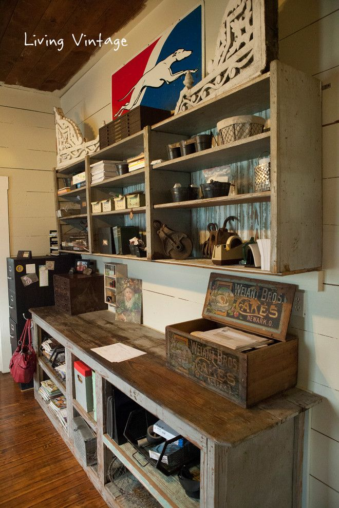 Breathtaking Architectural Salvage decorating ideas for Foxy Home Office Rustic design ideas with greyhound bus sign industrial large vintage corbels metal bins old general store
