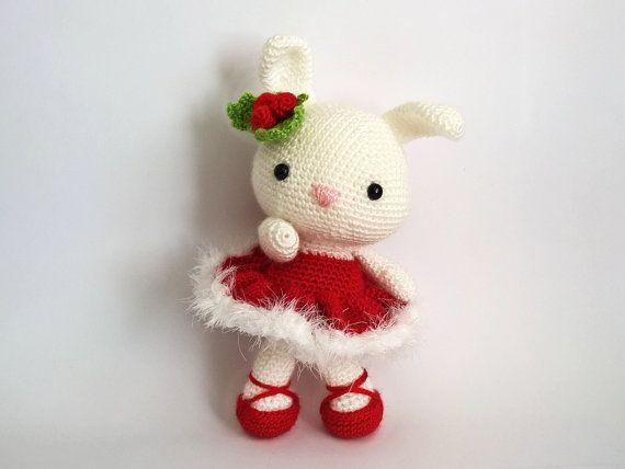 Christmas Crochet Bunny Christmas Amigurumi Bunnies by RenaTienda