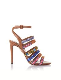 AQUAZZURA - Masai Sandal 105 - WHISKEY - CALF WITH BEADED STRAP