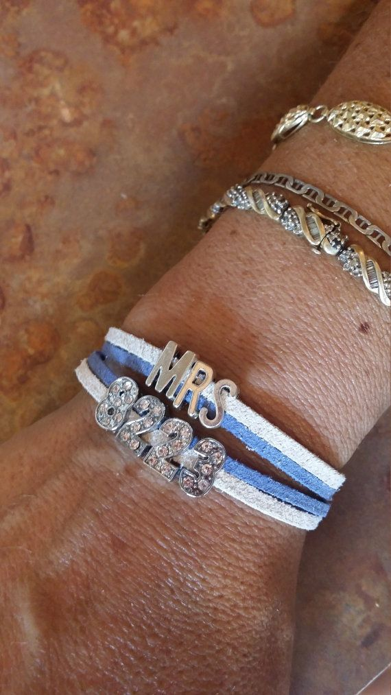 Police wife bracelet Badge number, support our police, badge number rhinestones, leather cord customized bracelet, thin blue line