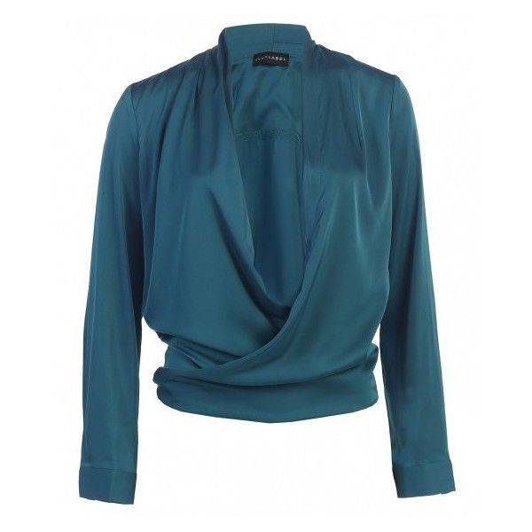 JLUXBASIX Teal Cross Draped Satin Blouse ($45) ❤ liked on Polyvore featuring tops, blouses, blue top, satin blouse, drapey top, sexy tops and satin top