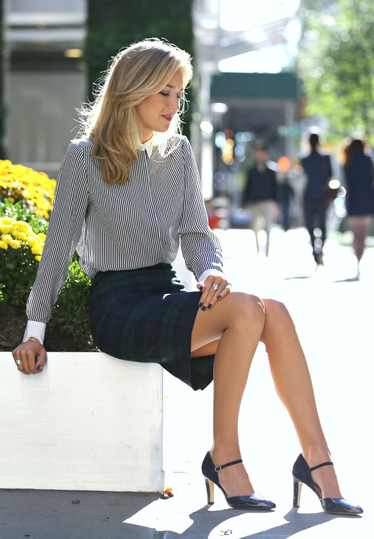 The Classy Cubicle: Invest. The fashion blog for professional women who need office style inspiration and work wear ideas for the corporate world and beyond. {club monaco, j. crew, ann taylor, franco sarto, silver, vest, navy, plaid, tartan, striped, accent collar, silver jewelry, fall fashion}