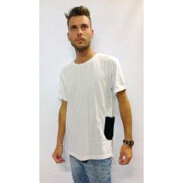 t-shirt 100% cotone bianca con taschino nero