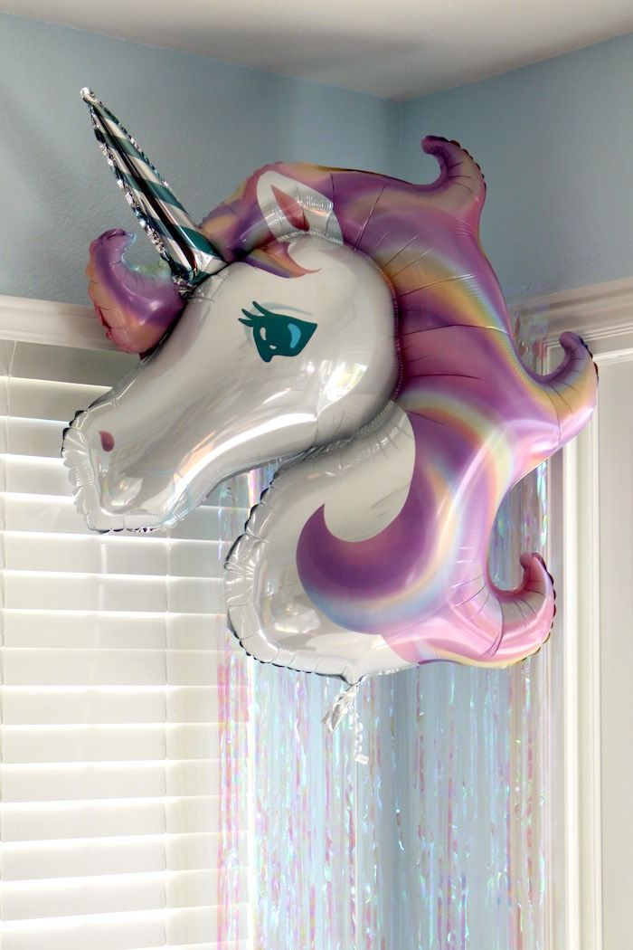 Iridescent unicorn balloon from a Pastel Iridescent Unicorn 2nd Bday Party at…