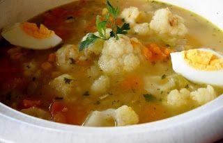 Cocina Dietetica, Recetas para Diabeticos, Sopa de Coliflor y Calabaza