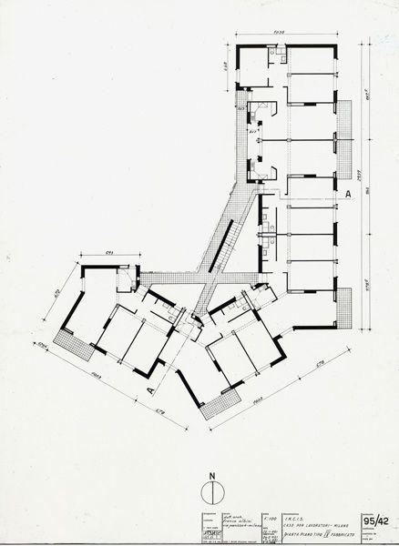 Franco Albini / Casa Incis al Quartiere Vialba - Pianta di un piano tipo / 1950-53