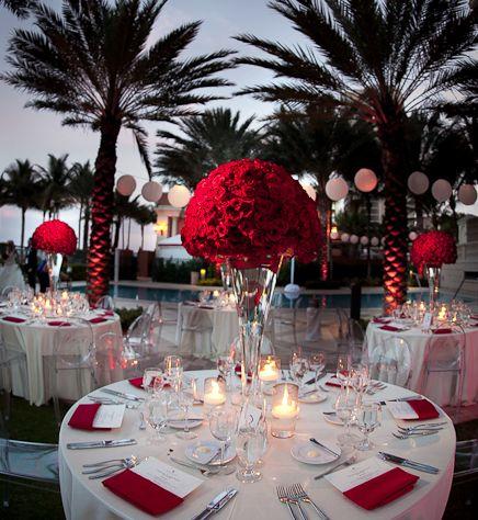 ideas de decoración color blanco y rojo