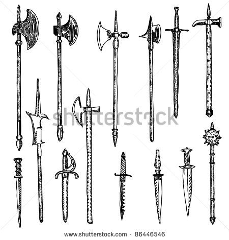 Weapon collection, medieval weapons - stock vector