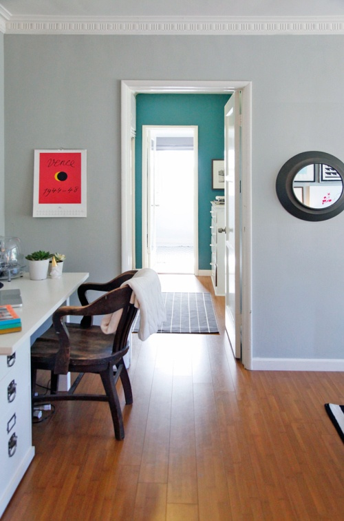 Living room color is half moon crest from benjamin moore and the hallway color is lost atlantis for Living room and hallway paint colors