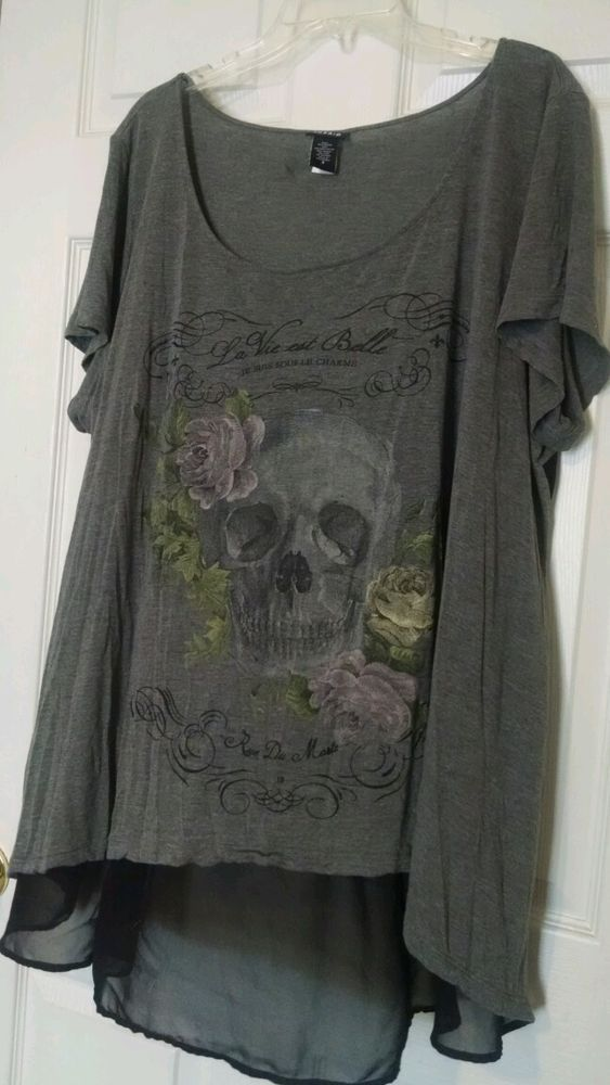 Torrid Women's Plus Size 3 3X Skull Hi Low Shirt Tunic Punk Rock FREE SHIPPING  #Torrid #Tunic