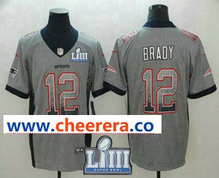 e7cea1472 Men s New England Patriots  12 Tom Brady Grey 2019 Super Bowl LIII Patch  Fashion Drift Color Rush Stitched NFL Nike Limited Jersey