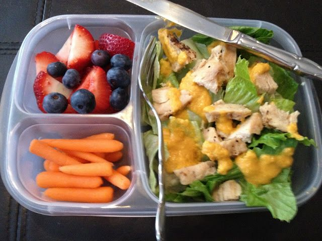 Grilled chicken salad with carrot ginger dressing | Portion controlled lunch