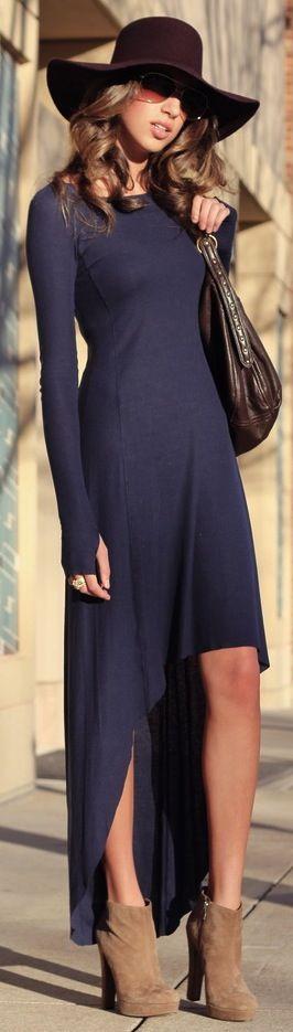 street style autumn clothes outfits womens fashion style apparel clothing closet ideas  long blue dress hat handbag heels
