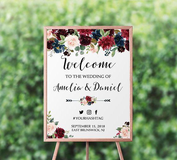 Navy Burgundy Welcome Wedding Sign Template Floral Merlot Wedding Welcome Sign Navy Marsala Wedding Sign Large Signage Editable Template 034