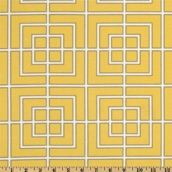Indoor Outdoor fabric Dwell Studios Fretscene Canary fabric by the yard - 1 yard or more -  SHIPS FAST