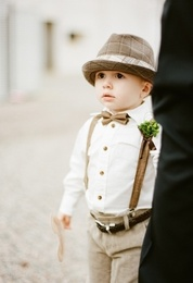 Cute outfit for Ring Bearers. love the tan pants with suspenders.