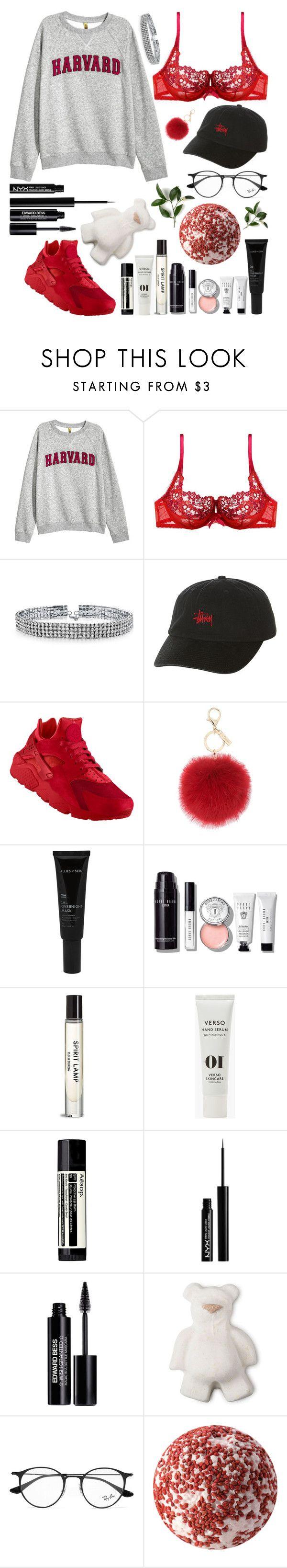 """●v o r f r e u d e◎"" by lilsavageboo ❤ liked on Polyvore featuring H&M, Gossard, Bling Jewelry, Stussy, NIKE, L.K.Bennett, Allies of Skin, Bobbi Brown Cosmetics, Verso and Aesop"