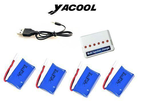 Yacool ® 4 piezas 3.7V 600mAh batería y cargador de 1 a 6 para el drone de quadcopter de coche RC vuelo syma X9 piezas de repuesto - http://www.midronepro.com/producto/yacool-4-piezas-3-7v-600mah-bateria-y-cargador-de-1-a-6-para-el-drone-de-quadcopter-de-coche-rc-vuelo-syma-x9-piezas-de-repuesto/