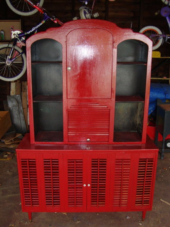 Upcycled hutch, Red furniture, recycled old furniture, curio, cabinet, display hutch.. $475.00, via Etsy.: Red Furniture, Old Furniture, Furniture Redo, Upcycled Furniture, Display Hutch Don T, Hutch Red, Furniture Recycled, Curio Cabinets