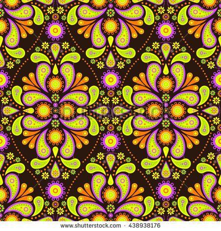 Seamless Paisley Tile Pattern - Green Yellow Brown