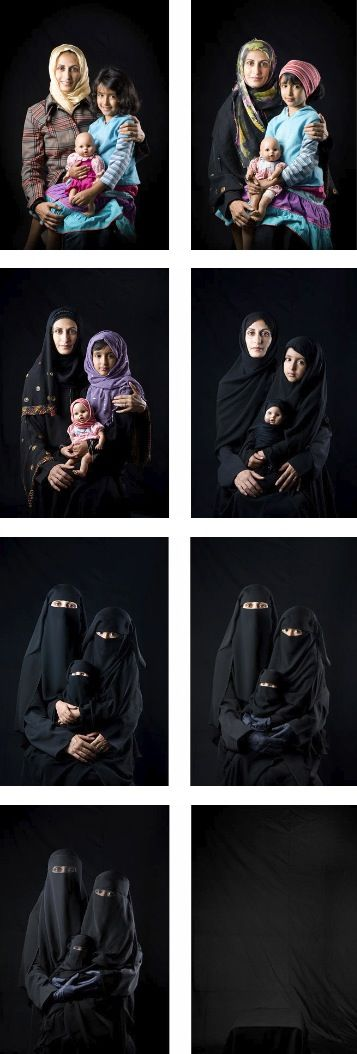 """""""Mother-Daughter-Doll,""""  Photographer Boushra Almutawakel posed one of her daughters with her doll in a sequence showing how women fade to black by increasingly drastic ways to cover up and ultimately vanish.  If a woman wishes to cover up, that is her choice.  Many women are having that choice taken from them and are forced into hiding themselves, which is not right or appropriate."""