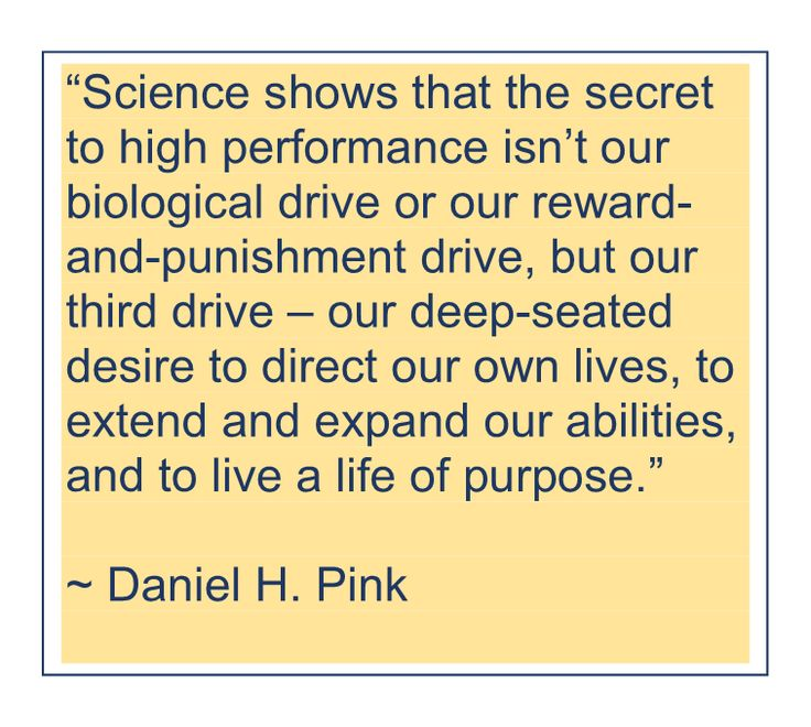 """Science shows that the secret to high performance isn't our biological drive or our reward-and-punishment drive, but our third drive—our deep-seated desire to direct our own lives, to extend and expand our abilities, and to live a life of purpose."" ~ Daniel H. Pink"