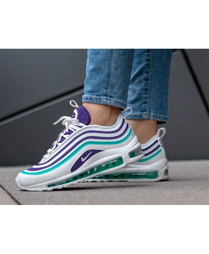 Women s Nike Air Max 97 Ultra 17 SE White White Court Purple Emerald Green  Trainer 3029a0da1