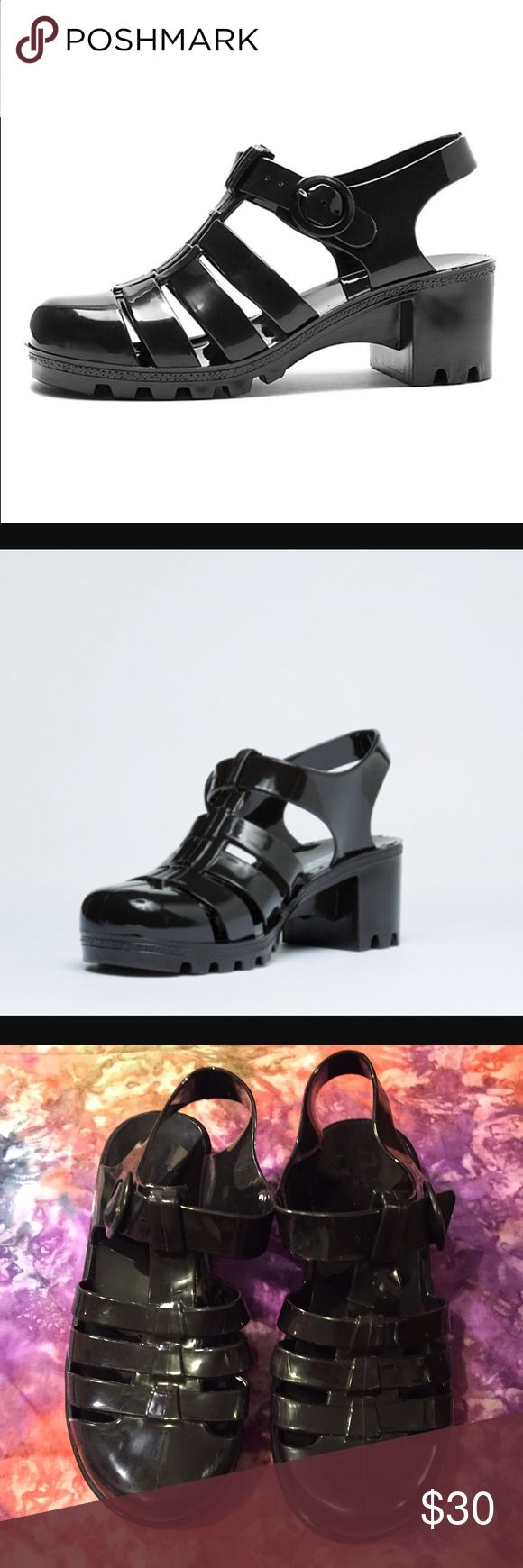 American Apparel Jelly Shoes! Brand new condition black jelly heels from American Apparel! Cute for fall with socks or tights! American Apparel Shoes Sandals