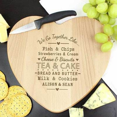 Check this out!! The Kitchen Gift Company have some great deals on Kitchen Gadgets & Gifts Personalised Wooden Heart Chopping Board - Couples Design #kitchengiftco