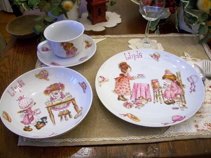 SARAH KEY - Porcellane per bambini dipinte a mano servizi pappa e colazione (96 foto)