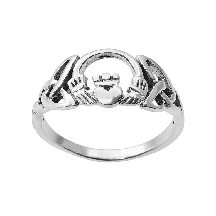 Journee Collection Sterling Silver Claddagh Ring, Women's, Size: 8, Grey